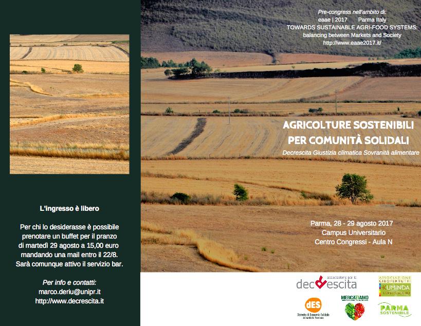 AGRICOLTURE SOSTENIBILI PER COMUNITÀ SOLIDALI: nell'incontro del 29 agosto a Parma
