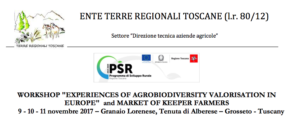 Esperienze sull'agro-biodiversità in Europa, se ne parla in Toscana dal 9 all'11 novembre in un workshop