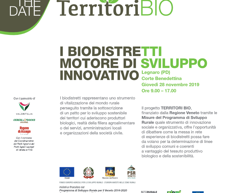 I Biodistretti: motore di sviluppo innovativo. Se ne parla  il 28 novembre